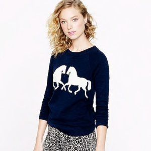 J Crew Navy Blue Horsing Around Sweatshirt w Horse